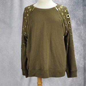 Michael Kors Grommets Accent Zippers Sweater